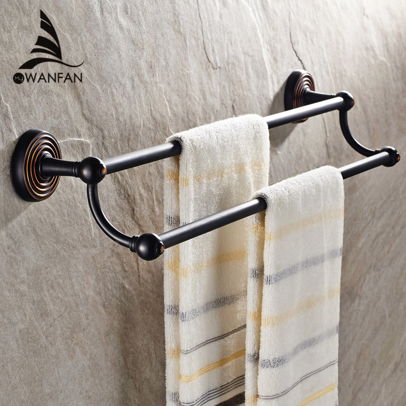 Towel Bars (24,60cm) Dual Rails Brass Towel Shelf Bath Holders for Towels Hanger Bathroom Accessories Black Towel Rack HJ-1211F fixtures bathroom accessories 5231 solid brass chrome shower basket shelf tidy rack caddy storage holders