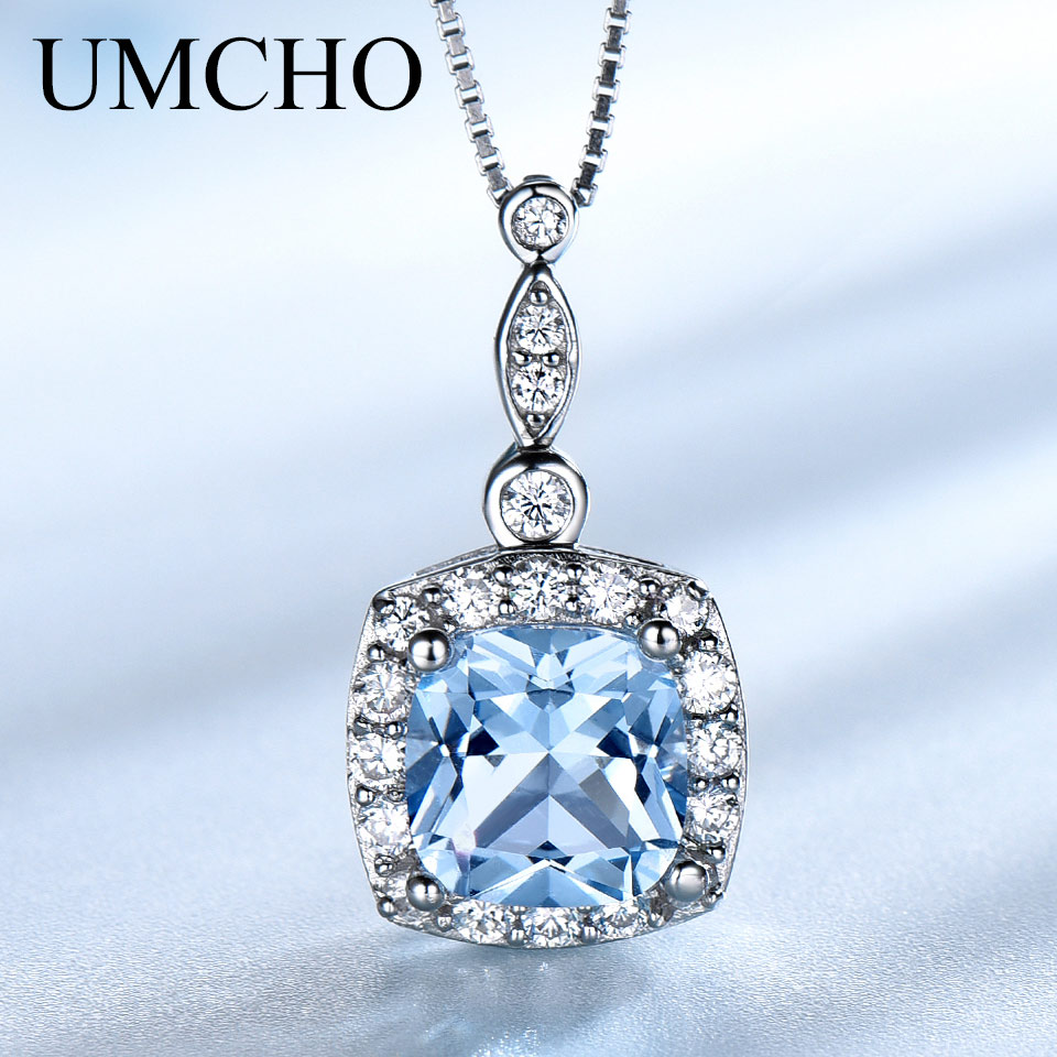 UMCHO Solid 925 Sterling Silver Necklaces Pendants Sky Blue Topaz Necklace For Women Gemstone Fashion Christmas Jewelry New 2019 umcho 3 4ct genuine natural swiss blue topaz gemstone pendants necklaces for women pure 925 sterling silver necklace jewelry