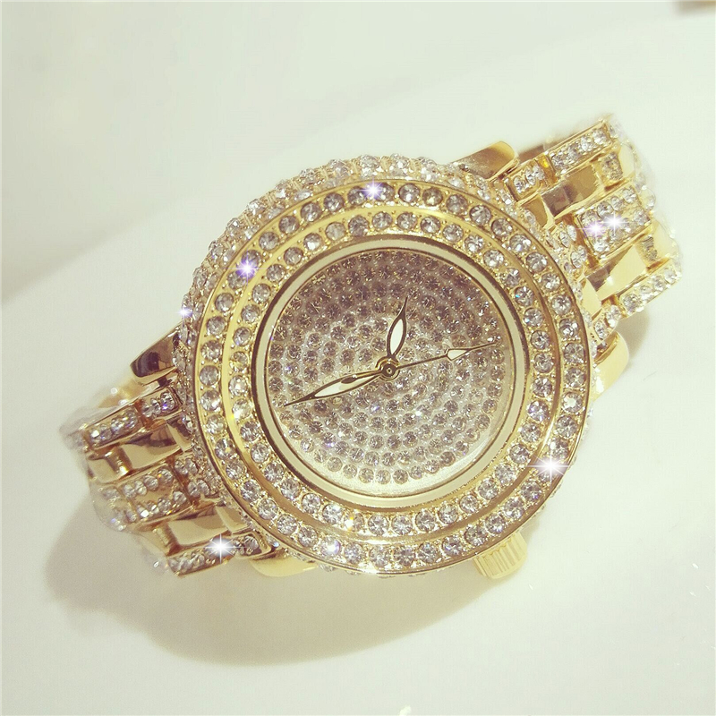 2017 Bs Bee Sister Free Shipping Rhinestone Diamond Watches Fashion Luxury Quartz Gold Color for Evening