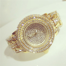 2017 bs bee sister envío gratis rhinestone del diamante relojes de cuarzo de moda de lujo vestido de reloj de pulsera de color oro para el partido de tarde
