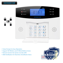 Homsecur diy gsm sistema de alarme para segurança em casa (painel de alarme la01, sensor de movimento pir, sensor de fumaça, flash strobe sirene etc. opcional)