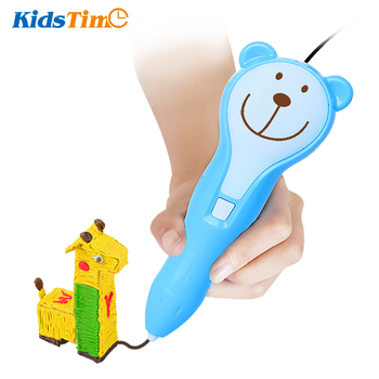 KidsTime 3D Pen Printing Drawing Scribble Printer Wireless and Low Temperature with Colorful PCL Filament for Kids DIY Pencil цена 2017