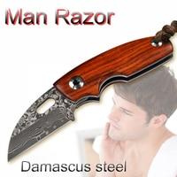 NEW superhero man's razors Damask steel shaving knife, senior rosewood handle pocket razor knife folded shaver high end gift