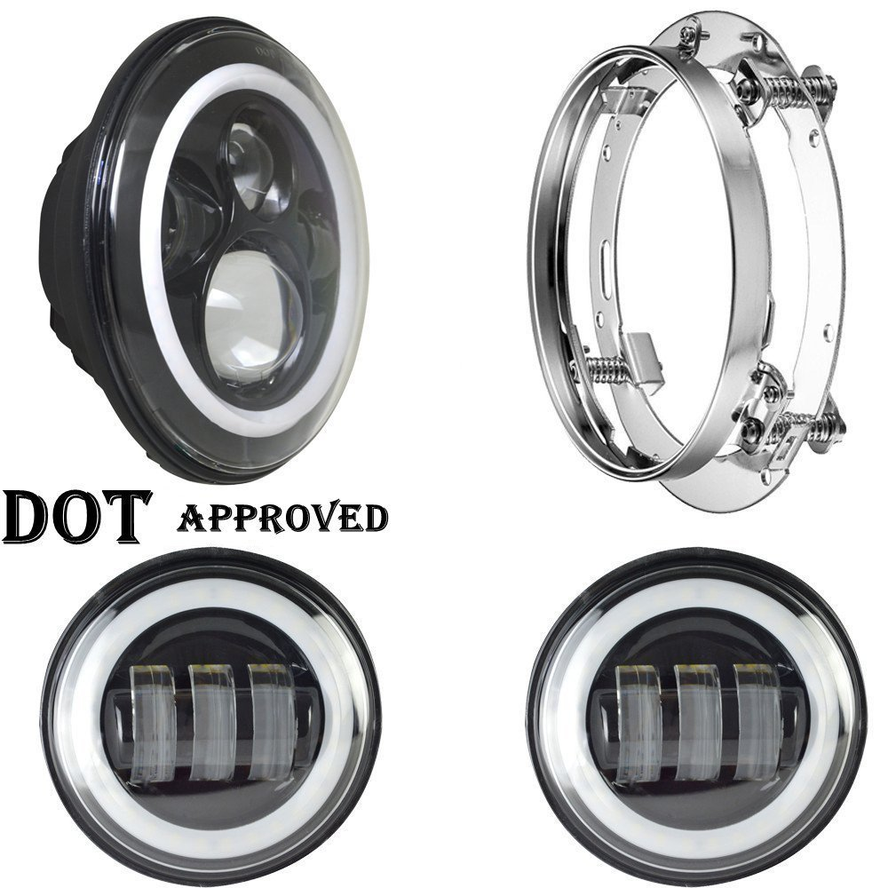 7 LED Projection Daymaker Headlight Angle Eyes with DRL Halo + 2pcs 4 1/2 4.5 Fog Lights + 7 inch bracket For Harley Davidson black 7 inch motorcycle daymaker replacement led headlight 2 x 4 5 fog lights for harley davidson road king with 7 bracket