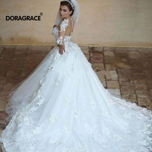 Doragrace A Line Court Train Long Sleeves Wedding Gowns Tulle Illusion Dresses Brial