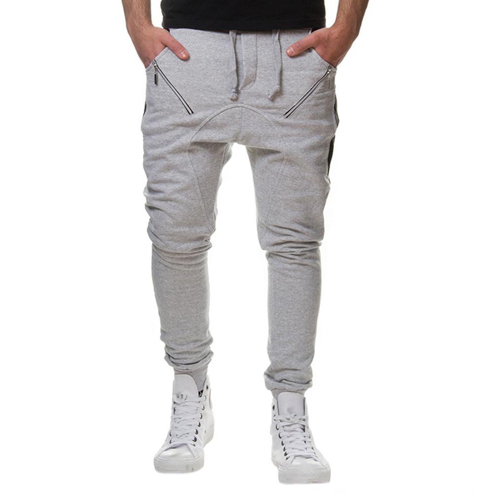 Men's Solid Gray Cross-pants With Pockets Zipper Hip Hop Loose Full Boy's Pant Big Size M-xxxl Cotton Soft Pants San0 Good Taste