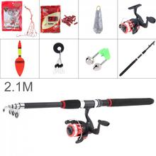 2.1m Fishing Rod Reel Line Combo Full Kits Spinning Pole Set with Carp Lures Float Hooks Beads Bell