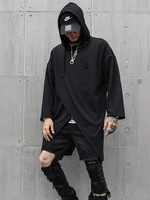 Men Fashion Casual Loose Hooded T shirt Male Streetwear Punk Hip Hop Long Sleeve Tee Shirt Black Tshirt Stage Clothes
