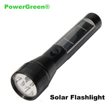 PowerGreen Solar Flashlight 2000mAh Built-in Battery Emergency Phone Power Bank Solar Torch Light Camping Light