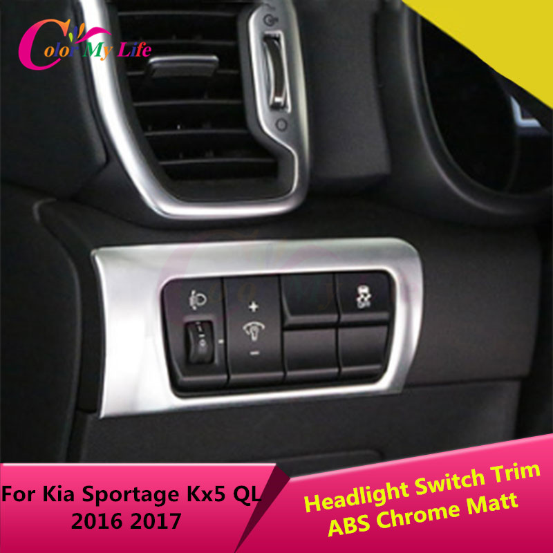 1Piece ABS Chrome Headlight Switch Button Pelarasan Perlindungan Circle Sticker Trim Untuk Kia Sportage Kx5 QL LHD 2016 2017