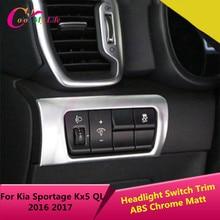 1Piece ABS Chrome Headlight Switch Adjustment Button Circle Protection Trim Sticker For Kia Sportage Kx5 QL LHD 2016 2017
