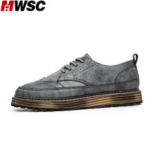 MWSC New Design Male Casual Leather Shoes Leisure Oxford Brogue Men Footwear Vintage Style Fashion Shoes