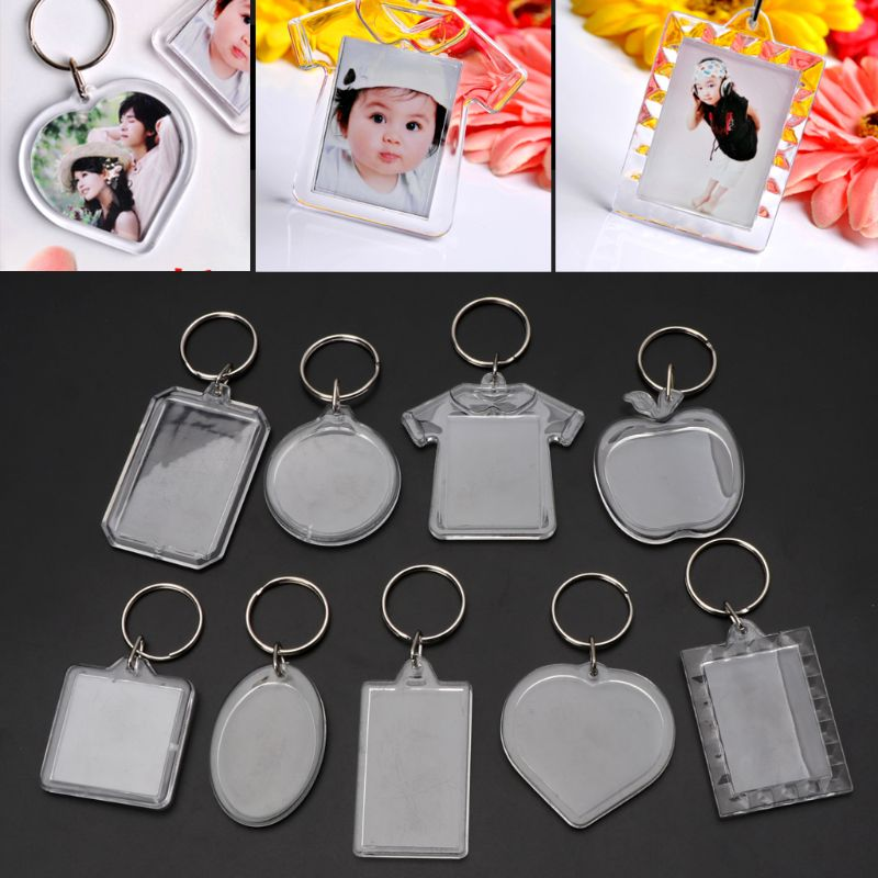 10Pcs Picture Blank Keyrings Transparent Acrylic Key Chains Insert Your Photo Picture Frame Keyring DIY Split Ring Gift