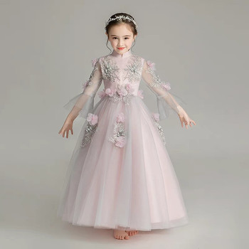 2019Spring Luxury Children Girls Elegant Appliques Flowers Wedding Birthday Party Long Mesh Dress Teens Piano Host Costume Dress
