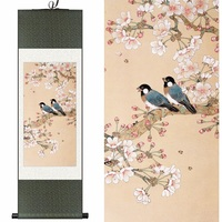 Original Chinese Silk Watercolor Flower And Bird Begonia Flowers Ink Art Print Canvas Wall Picture Damask