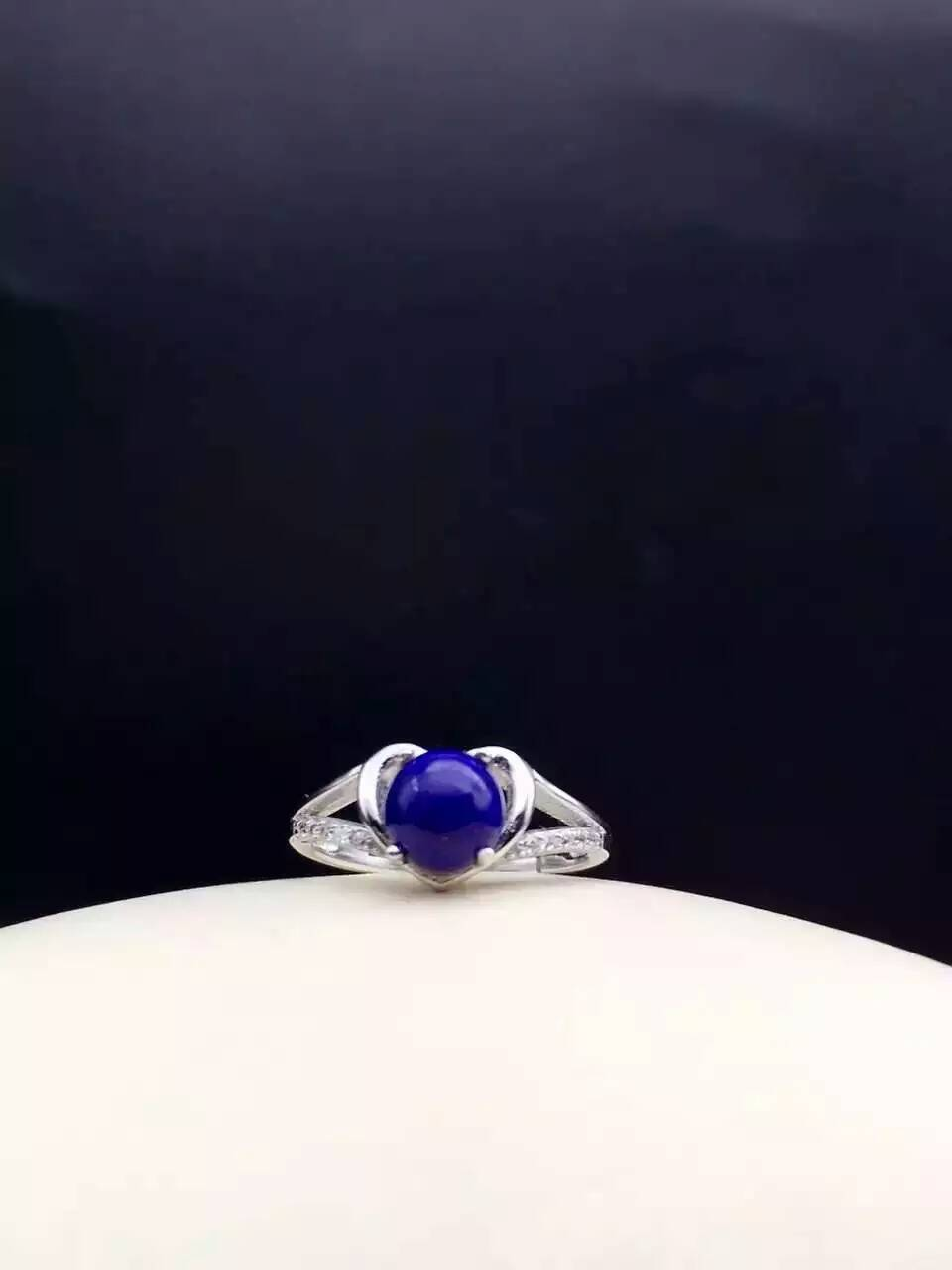 Natural blue lapis lazuli gem Ring Natural gemstone ring 925 sterling silver trendy Lovely heart women girl party gift Jewelry