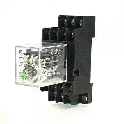 Подробнее о MY4NJ DC 24V Coil 3A Electromagnetic Relay 14 Pin 4PDT 4 NO 4 NC + Base Socket free shipping hh54pl ac 220v coil 14 pin 4pdt red led light electromagnetic relay