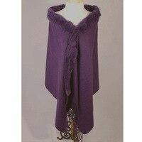 Purple New Women's 100% Wool Cashmere Pashmina Rabbit Fur Shawl Scarf Winter Warm Cape Muffler Oversize 180 x 70cm 011612