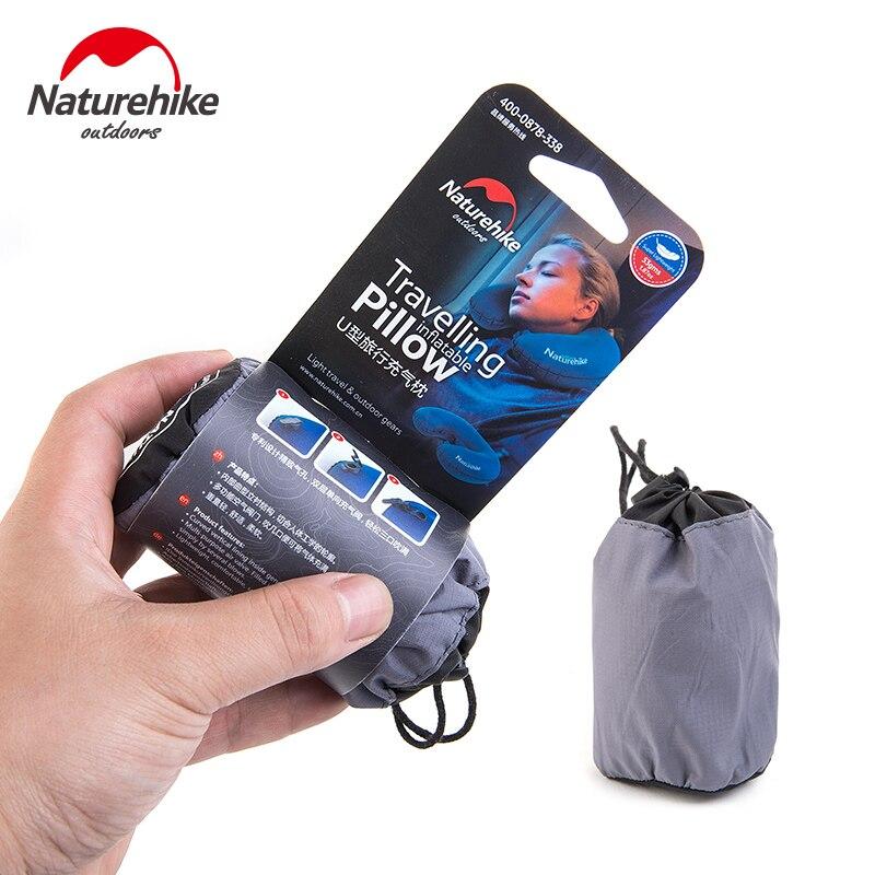 NatureHike Promotion Portable U Shape Inflatable Pillow Sleeping Travel Inflatable Cushion Neck Protective Plane Pillow