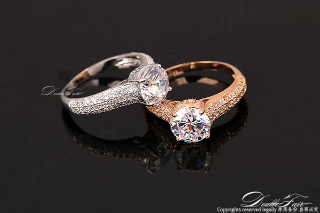 Cubic Zirconia Micro Pave Wedding Rings Rose Gold/Silver Color Engagement Jewelry For Men and Women Lover's Ring DFR207