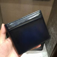 TERSE_Luxury handmade leather short wallet mens genuine leather purse blue/ burgundy/ tobacco colors in stock custom service