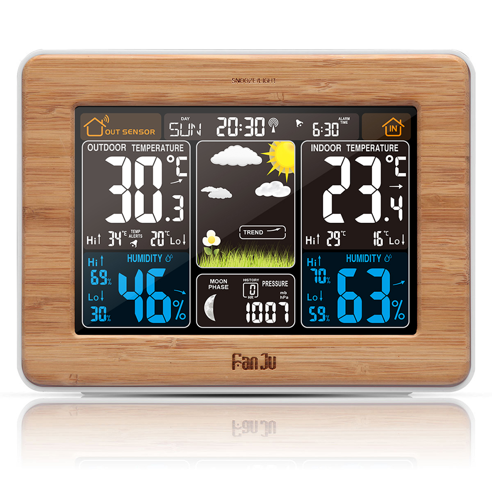 FanJu FJ3365W Weather Alarm Clock Wireless Previsioni Temperatura Moon Phase Snooze Lunare Fase Grande Display A LED Digitale a Colori