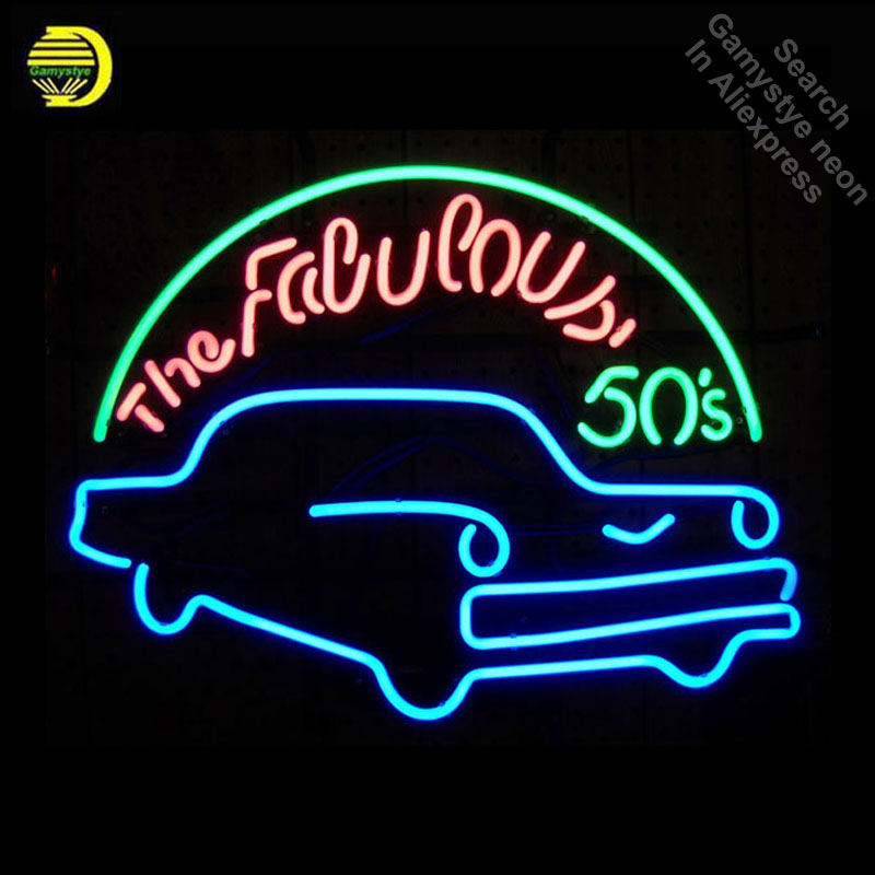 Neon Sign for Fabulous 50s Blue Classic Car Neon Bulbs sign Display Handmade Glass tube neon lights for sale fluorescent signs image