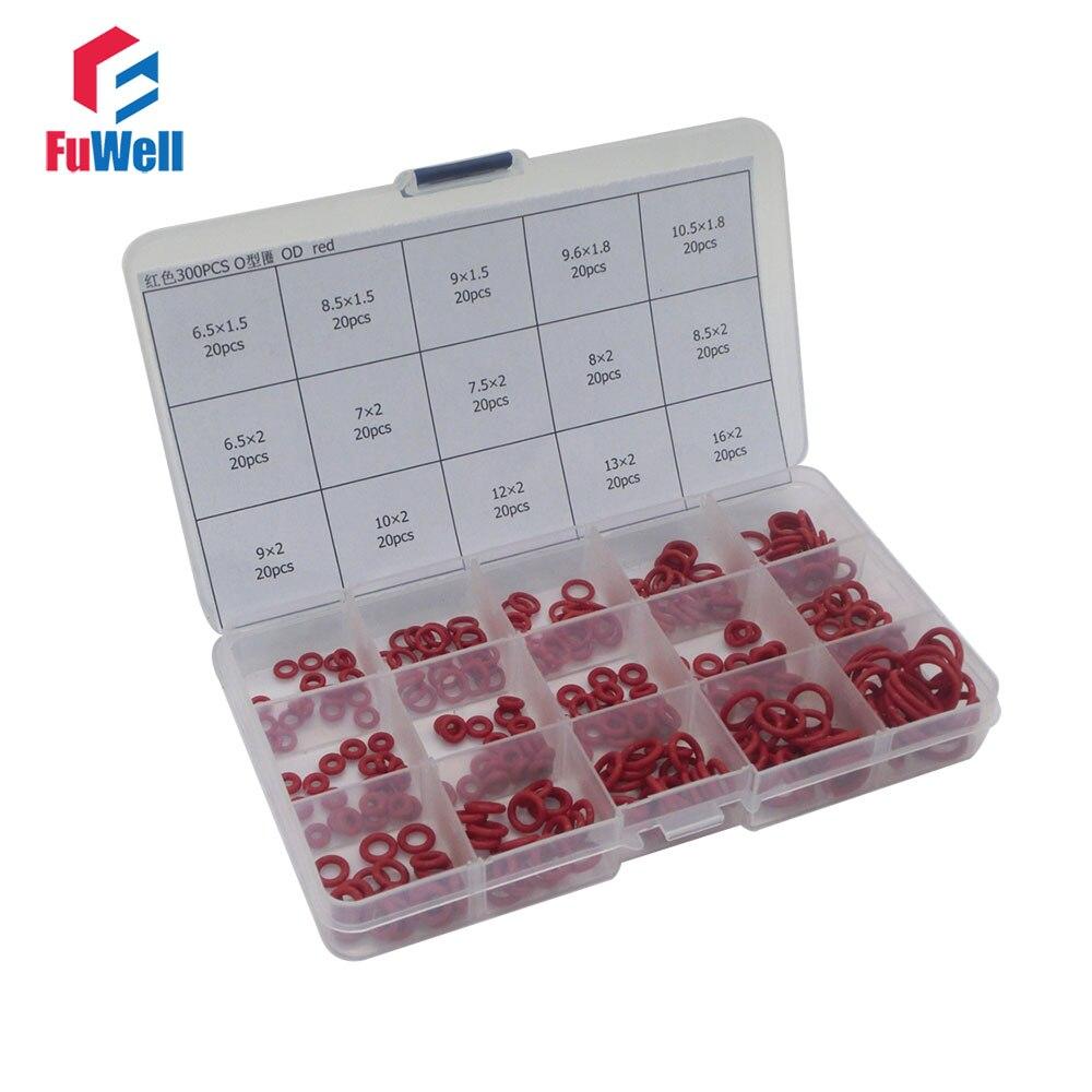300 pcs Kit De Vedação O-ring 15 Tamanhos Diferentes de Silicone Vermelho O-anel de Vedação Junta Variedade Set com Plástico caso