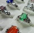 30 Pcs Moda Opalas Multicoloridas Banhado A Prata Anéis Para As Mulheres Jóias Todo LR008 Embalagens A Granel Lotes Frete Grátis