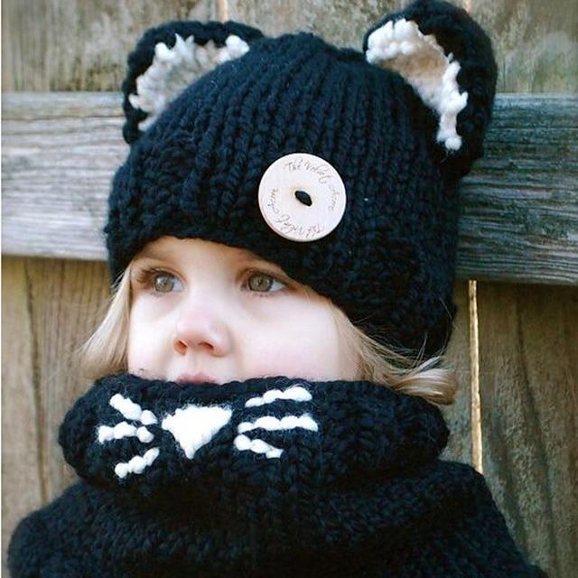 Hiver En Plein Air À Tricoter Chapeau Cat Fox Doux Chaud Chapeaux pour Bébé  filles Garçons 0423fefdc7d