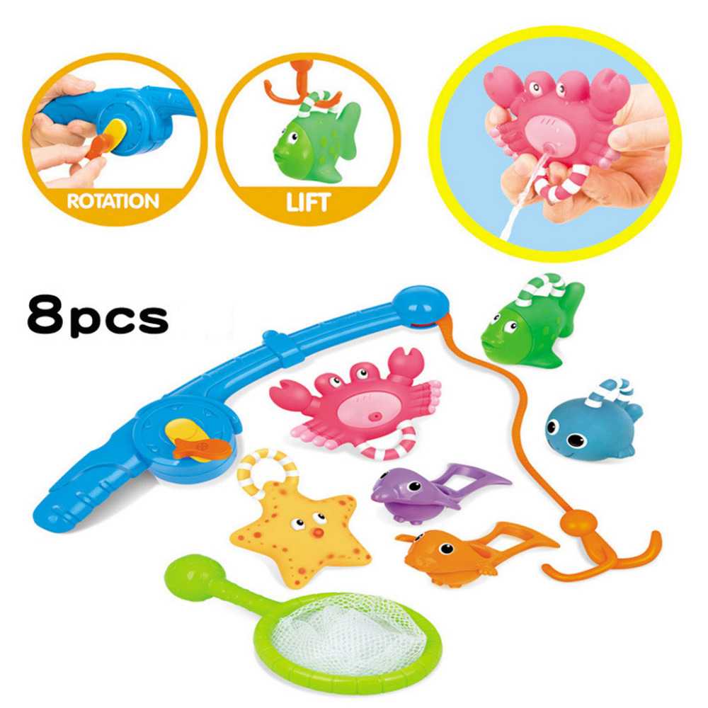 Baby Bathing Floating Soft Rubber Animals Water Tub Toy Squirts Spoon-Net 8pcs Beach Toys For Kids A1