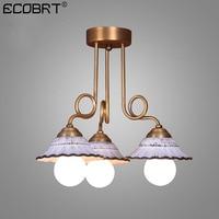 ECOBRT LED Pendant lamps ceramic lampshade for living room dining room cafe chandelier Bedroom restaurant study living room lamp