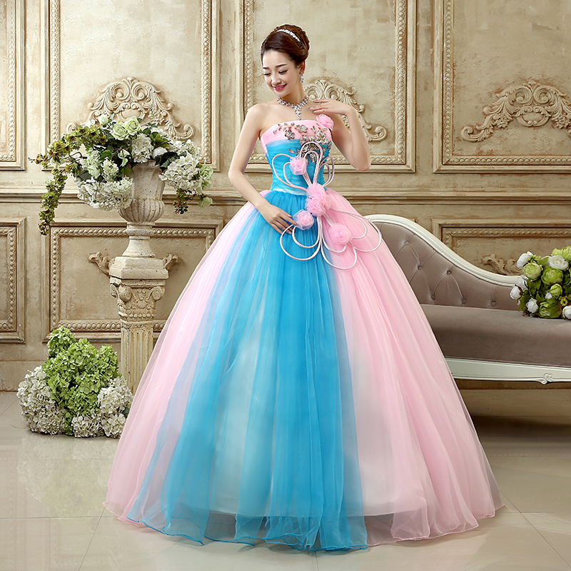 Princess Quinceanera Dresse 2019 New Fashion Strapless Sleeveless Blue and Pink Lace Big Bow Luxury Stage