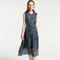 2019 Новое шелковое платье Летнее темно синее с принтом женское шелковое платье длинное высокое качество повседневное Элегантное платье без