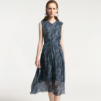 2019 новые шелковые платья летние темно синие женские шелковые платья с принтом длинное высококачественное повседневное Элегантное платье б