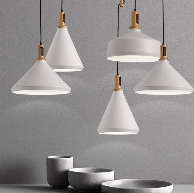 Nordic Modern White Pendant Lights Fixture Straw Hat Droplights Home Indoor Lighting Dining Room Restaurant Cafes