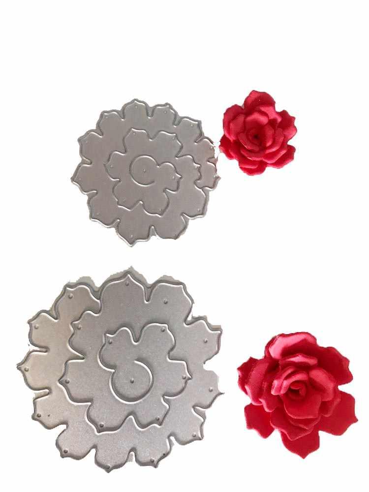 3D Rose Flower Khung Thủ Công Chết Kim Loại Cắt Chết Stencil cho DIY Scrapbooking album Ảnh Thẻ Giấy Làm Trang Trí