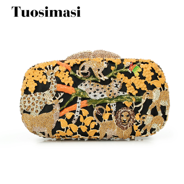 animal prints tree golden color bling crystal clutch ladies evening bags  purse (8680A-G) c936858e5931