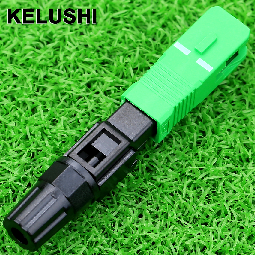KELUSHI 10pcs Fiber Optic SC APC Connector Quick Fast Conector Fiber Conector SC/APC Connectors Catv Adapter Cold Connect Tool