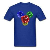 安い面白い印刷色ロールダイスtシャツ男性ハッピーゲームカスタムパーソナライズファッションtシャツトップ品質