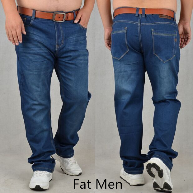 d9c1c01df3f Free shipping Large Size Mens jeans Obese Pants Plus Fertilizer Fat Guys  Straight Stretch Denim Trousers