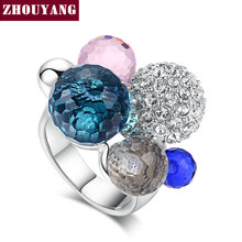 ZYR066 Luxury Retro Multicolor Crystal Ball Ring Silver Color Made with Genuine Austrian Crystals Full Sizes Wholesale