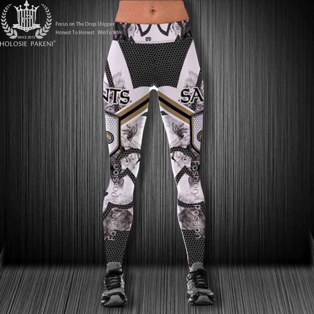 Dropshipping USA Size New 3D Printing Pants New England Patriots High Waist Fitness Leggings Sportswear Pants New Orleans Saints image