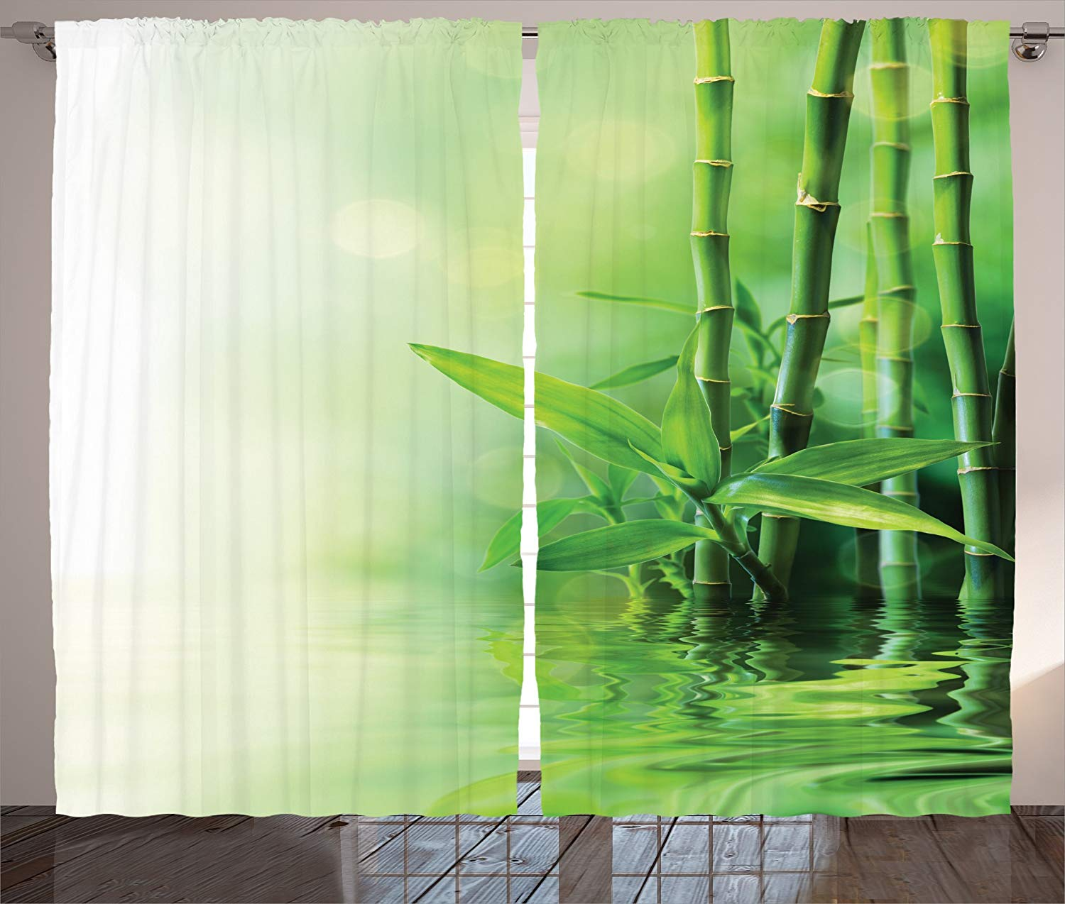 US $13.51 15% OFF|Asian Decor Curtains Bamboo Stalks Reflection On Water  Blurs Freshness Japanese Decorative Zen Spa Living Room Bedroom Decor-in ...