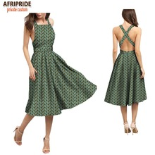 2018 summer sexy women dress AFRIPRIDE customzied sleeveless knee-length spaghetti strap 100% batik cotton A1825036
