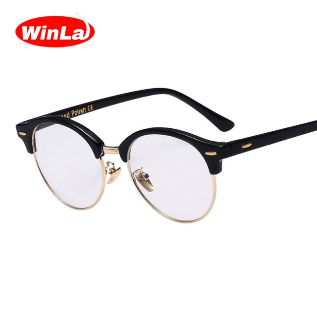 Winla 2017 olhos de gato óculos designer óptico transparente limpar lens nerd óculos clássicos do vintage vidros do olho quadros mentais pernas