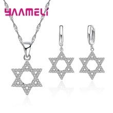 Geometric Wedding Engagement 925 Sterling Silver Jewelry Sets Women Fashion Geometric CZ Rhinestone