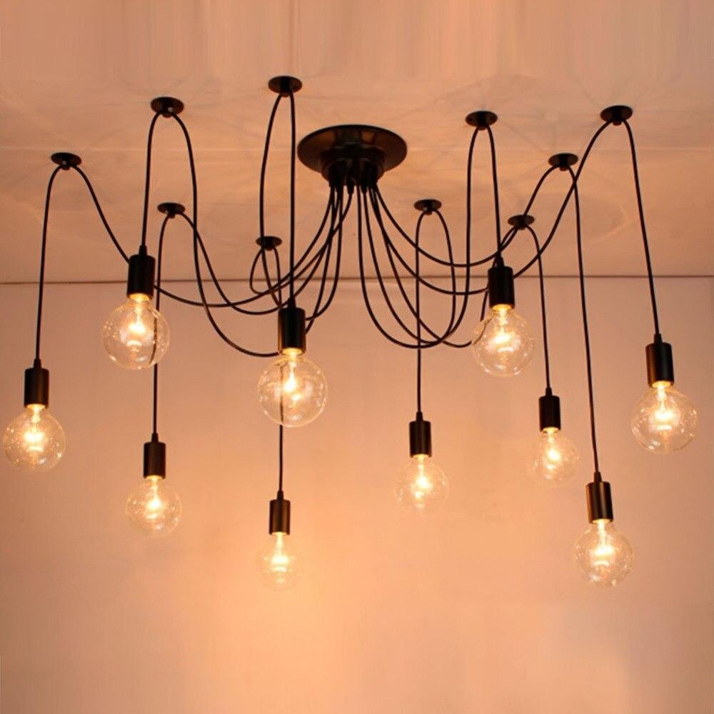 De spider hanglampen e27 90 240 v 6 14 hoofd loft amerikaanse moderne vintage