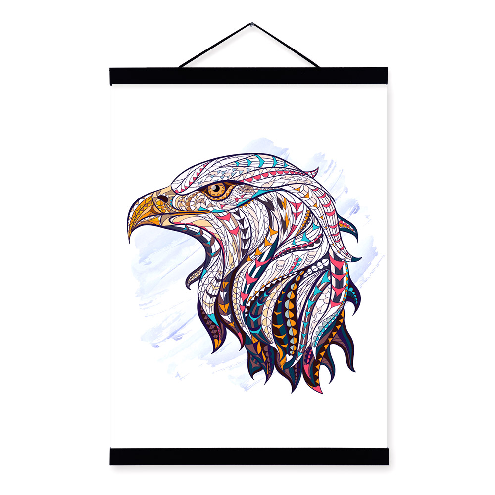 Modern Ancient <font><b>African</b></font> National Totem Animals Eagle Head A4 Framed Canvas Painting Wall Art Print Picture Poster <font><b>Home</b></font> <font><b>Decoration</b></font>