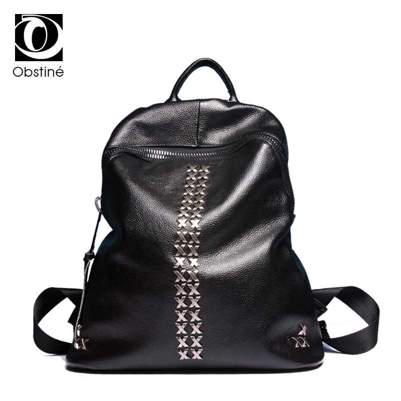 Fashion Calfskin Cow Genuine Leather Backpack Women Backpacks Girls School Bags Zipper Shoulder Bag Womens Back Pack